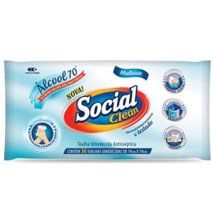 Lenço Umedecido Álcool 70° Social Clean