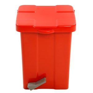 Cesto Plástico com Pedal Quadrado Vermelho 25L